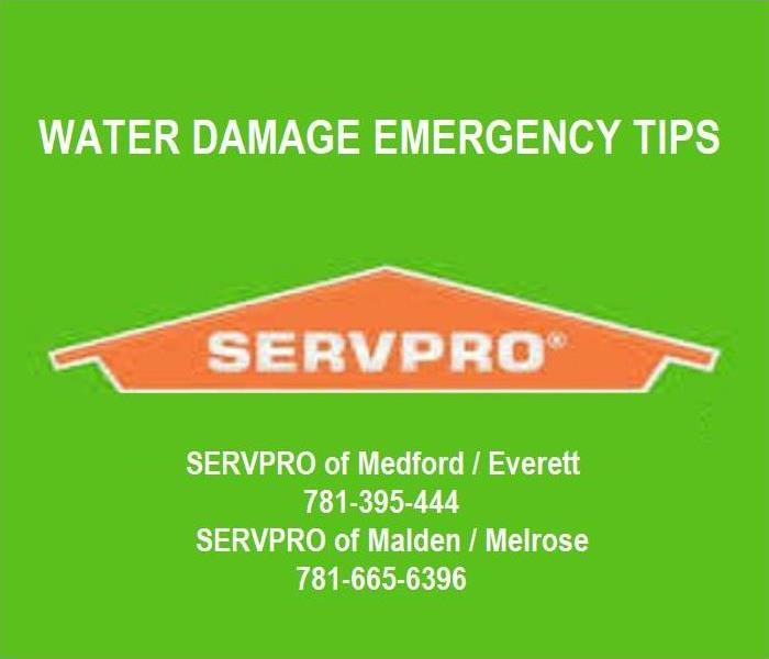 SERVPRO house logo with text Emergency Water Damage Tips