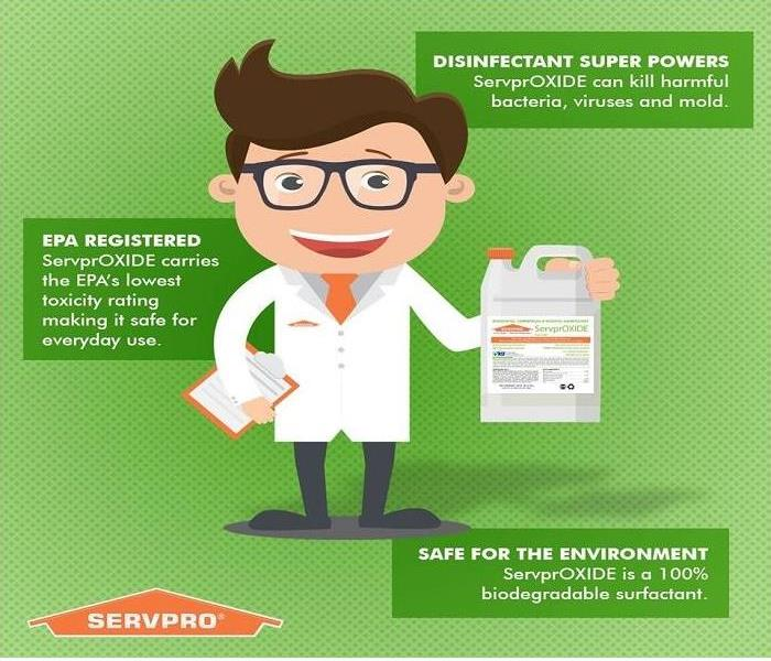 Cartoon scientist holding up a bottle of ServprOXIDE